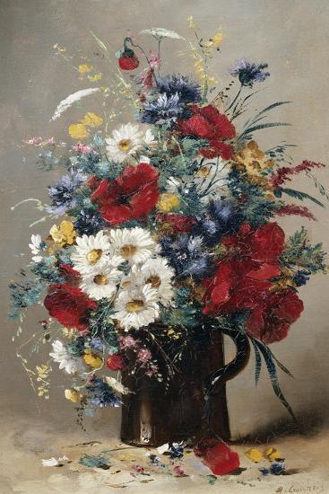 Still Life of Poppies, Daisies and Cornflowers-Eugene Henri Cauchois-Giclee Print