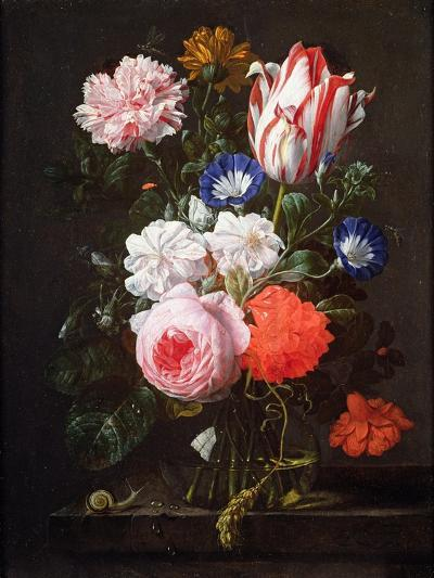 Still Life of Roses, a Carnation, Convolvulus and a Tulip in a Glass Vase-Nicolaes van Veerendael-Giclee Print