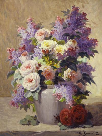 Still Life of Roses and Lilacs-Georges Jeannin-Giclee Print