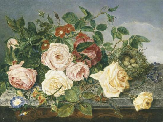 Still Life of Roses and Morning Glory-Eloise Harriet Stannard-Premium Giclee Print