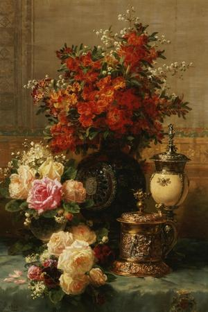 Still Life of Roses and Other Flowers-Jean Baptiste Claude Robie-Stretched Canvas Print