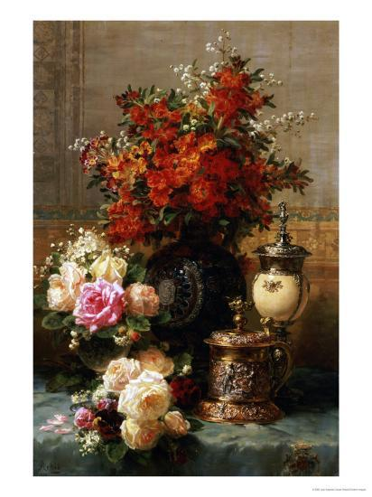 Still Life of Roses and Other Flowers-Jean Baptiste Claude Robie-Premium Giclee Print