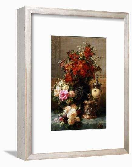 Still Life of Roses and Other Flowers-Jean Baptiste Claude Robie-Framed Premium Giclee Print