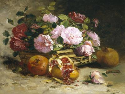 Still Life of Roses and Pomegranates-Eugene Henri Cauchois-Giclee Print