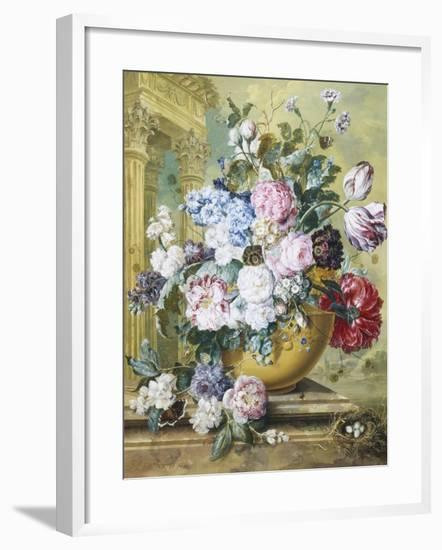 Still Life of Roses, Delphiniums and Tulips-Jacobus Linthorst-Framed Giclee Print