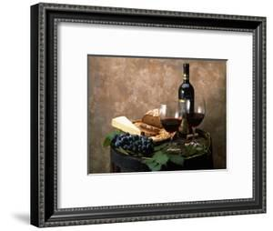 Still Life of Wine Bottle, Wine Glasses, Cheese and Purple Grapes on Top of Barrel