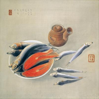 Still Life. Salmon Slices and Sardines, 1924-Tsuchida Bakusen-Giclee Print