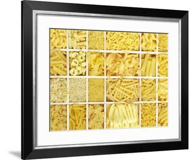 Still Life: Various Types of Pasta in White Typesetter's Case--Framed Photographic Print