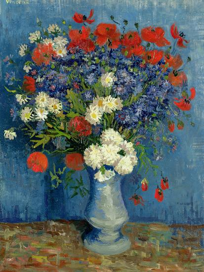 Still Life: Vase with Cornflowers and Poppies, 1887-Vincent van Gogh-Giclee Print