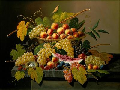 Still Life with a Basket of Fruit, 19th Century-Severin Roesen-Giclee Print