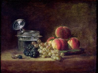 Still Life with a Basket of Peaches, White and Black Grapes, Cooler and Wineglass-Jean-Baptiste Simeon Chardin-Giclee Print