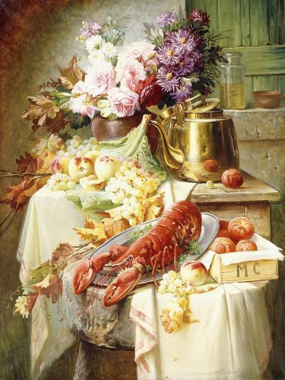 Still Life with a Lobster and Assorted Fruit and Flowers-Modeste Carlier-Giclee Print