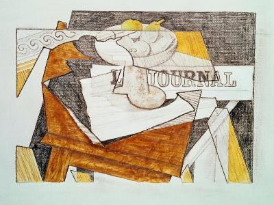 Still Life with a Newspaper and a Wooden Table, c.1918-Juan Gris-Giclee Print