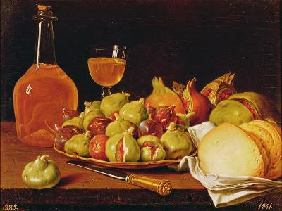 Still Life with a Plate of Figs and Pomegranates, Bread and Wine-Luis Egidio Melendez-Giclee Print