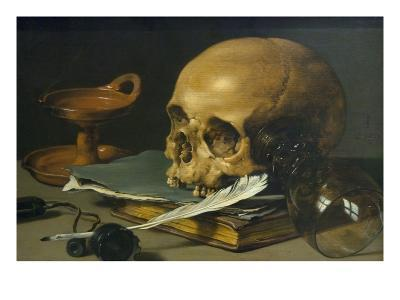 Still Life with a Skull and a Writing Quill, 1628-Pieter Claesz-Art Print