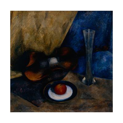 Still Life with a Violin, Apple and Vase, 1920-Anatoli Adrianovich Lebedev-Shuysky-Giclee Print