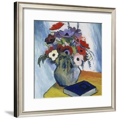 Still-Life with Anemones and Blue Book, 1911-August Macke-Framed Giclee Print