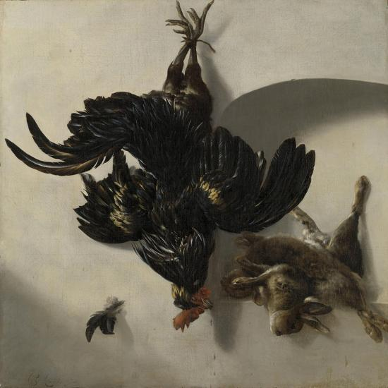 Still Life with Black Rooster and Two Rabbits-Cornelis Lelienbergh-Art Print