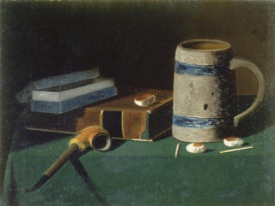 Still life with book, pipe and beer mug-John Prederick Peto-Giclee Print