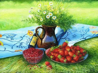 Still-Life With Camomiles And A Strawberry-balaikin2009-Art Print