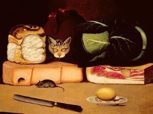 Still Life with Cat and Mouse, Primitive School, 1820