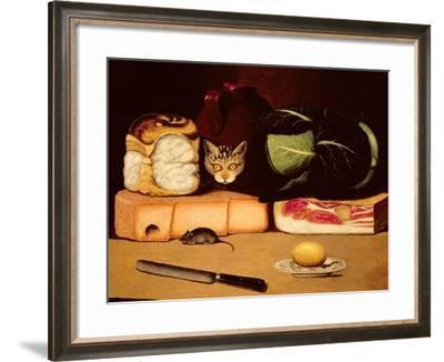 Still Life with Cat and Mouse, Primitive School, 1820--Framed Giclee Print