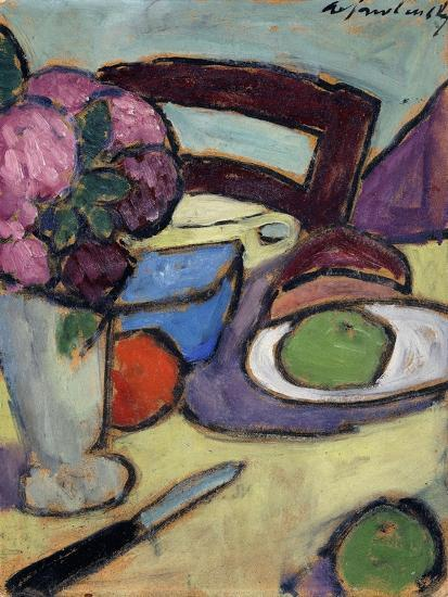 Still life with Chair and Bouquet-Alexej Von Jawlensky-Giclee Print