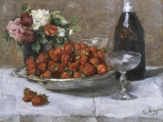 Still Life with Champagne and Strawberries-Isidor Verheyden-Giclee Print