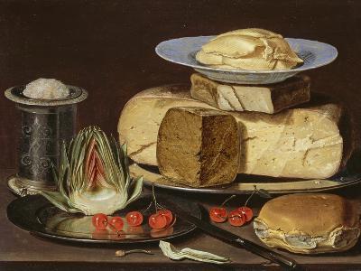 Still Life with Cheeses, Artichoke, and Cherries, Ca 1625-Clara Peeters-Giclee Print