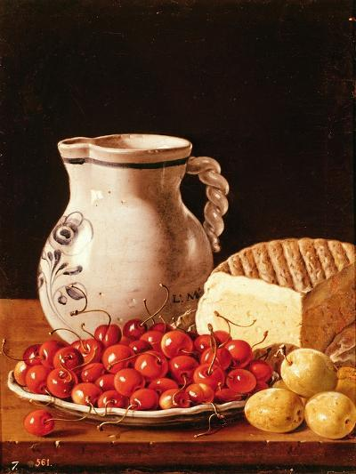Still Life with Cherries, Cheese and Greengages-Luis Egidio Melendez-Giclee Print