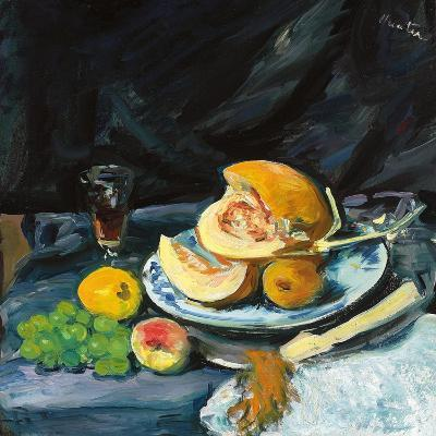 Still Life with Cut Melon, Glass and Fan, C. 1920-George Leslie Hunter-Giclee Print