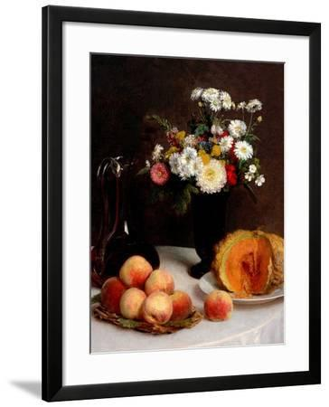 Still Life With Decanter, Flowers And Fruits-Henri Fantin-Latour-Framed Giclee Print