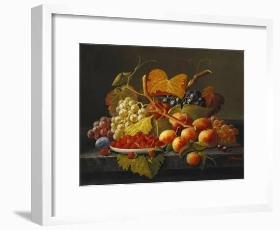 Still Life with Dish of Strawberries, Peaches and Grapes-Severin Roesen-Framed Premium Giclee Print