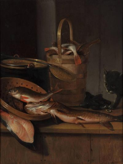 Still Life with Fish and a Cat, C. 1650-1660-Wallerant Vaillant-Giclee Print