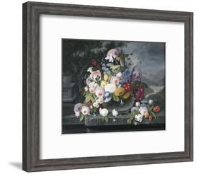 Still Life with Flowers and a Landscape-Severin Roesen-Framed Giclee Print