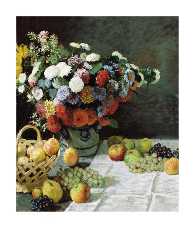 Still Life with Flowers and Fruit, 1869-Claude Monet-Premium Giclee Print