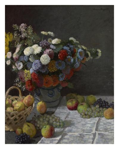 Still Life with Flowers and Fruit-Claude Monet-Art Print