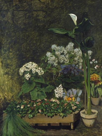 Still-Life with Flowers (Arum and Green House Plants), 1864-Pierre-Auguste Renoir-Giclee Print