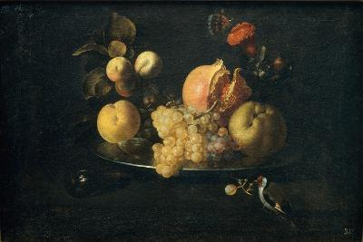 Still Life with Fruit and Goldfinch-Juan de Zurbarán-Giclee Print