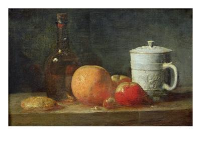 Still Life with Fruit and Wine Bottle-Jean-Baptiste Simeon Chardin-Giclee Print