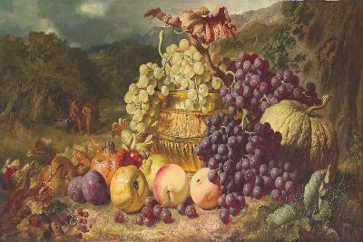 Still Life with Fruit in a Landscape, a Hunting Party Beyond, 1859-George Lance-Giclee Print