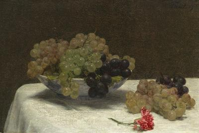 Still Life with Grapes and a Carnation, c.1880-Ignace Henri Jean Fantin-Latour-Giclee Print