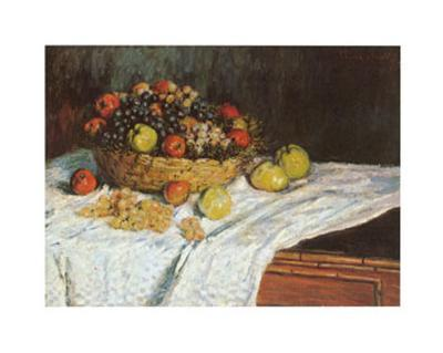Still Life with Grapes and Fruit-Claude Monet-Art Print