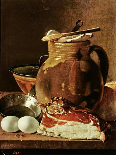 Still Life with Ham, Eggs, Bread, Frying Pan and Pitcher-Luis Egidio Melendez-Giclee Print