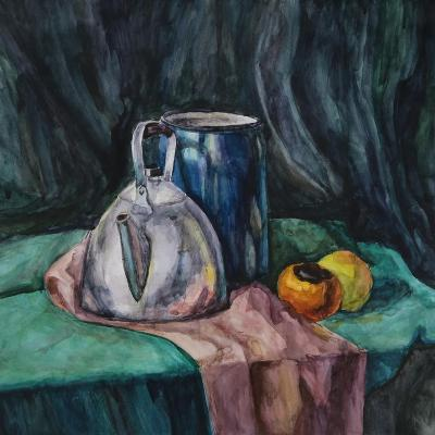 Still Life With Metal Teapot And Milk-Can-Solodkov-Art Print