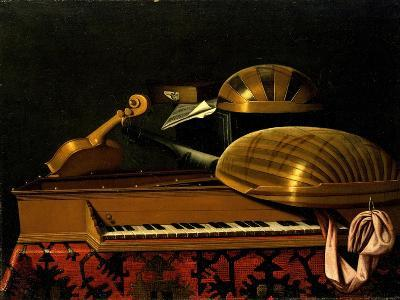 Still Life with Musical Instruments and Books, Mid of 17th C-Bartolomeo Bettera-Giclee Print