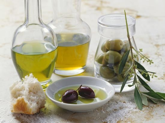 Still Life with Olives and Different Types of Olive Oil-Eising Studio - Food Photo and Video-Photographic Print
