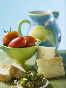 Still Life with Olives, Tomatoes, Cheese and White Bread