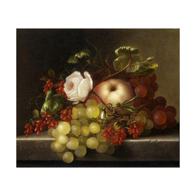 Still Life with Peach, Grapes and Rosehips-Dietrich Adelheid-Giclee Print
