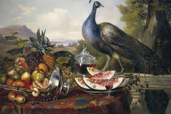 Still Life with Peacock-Luis Portu-Giclee Print